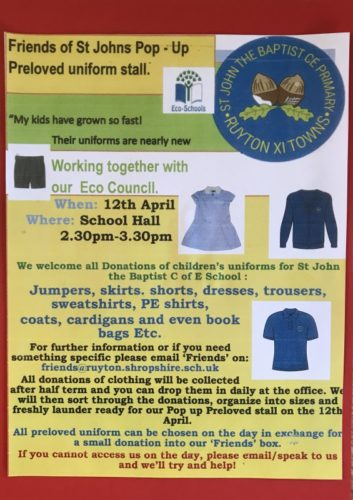 Friends of St Johns POP UP Preloved uniform stall @ School Hall