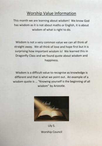 Worship Value Information - 'Wisdom' by Lily S, Worship Council