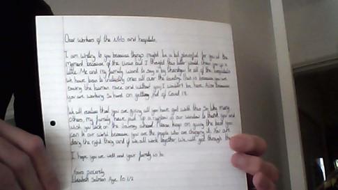 Elizabeth's letter to the NHS